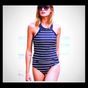 Navy and white swimsuit two piece